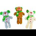 Durable, soft body bear toy with christmas scarf and buttons Squeaks when played with to entertain pet Use as a toss and fetch toy For indoor or outdoor play