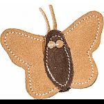 This leather butterfly cat toy is made with real leather which cats crave.