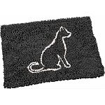 Clean paws cat mat is made with suber absorbent micro fiber and has a non skid backing to keep in place The mat can be used as a litter mat by pulling litter off the cats paws Can also be used for food and water dishes Machine washable or shake out the li