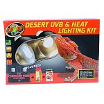 Let zoo med help you get started on your desert habitat withthe desert uvb & heat lighting kit Includes: mini combo deep dome lamp fixture, repti basking spot lamp, reptisun 10.0 mini compact fluorescent
