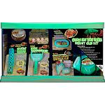 Comes with all the basics to starting a hermit crab habitat Includes 10 gallon glow in the dark terrarium, 2pk glow in the dark hermit crab shells, glow in the dark hermit crab bowl, Glow in the dark dual thermometer and humidity gauge, drinking water con
