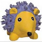 Thick-walled, stuffed latex is 100 percent natural. Paint used for the eyes is non-toxic and lead-free. Features a super loud squeaker.   Yellow and violet bright colored dog toy.