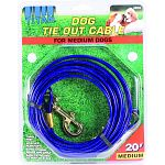 For medium dogs up to 50 lbs Tangle free Weather resistant Extra strong snaps and cable Easily attached to post or stake