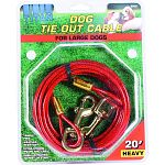 For large dogs up to 80 lbs Tangle free Weather resistant Extra strong snaps and cable Easily attached to post or stake