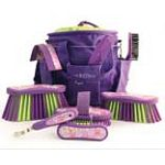 Includes matching tote, body brush, dandy brush, flick brush, face brush, mane and tail brush, mane comb. Also includes a hoof pick and sweat scraper.