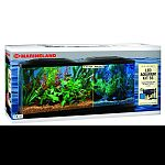 Kit comes complete with 55 gallon aquarium, fluorescnent light and bio-wheel filter. Also includes: set-up guide, flake food, water conditioner, thermometer and fish net and heater.