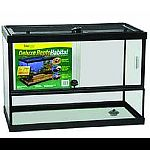 Sliding front door aquarium. Ventilation track. Door handle with locking mechanism. Door is padlock compatible. Punch outs for cord routing. Innovative drain feature. Low profile allows tank to sit on a stand with a top if drain will not be used.