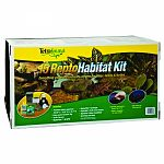 Contains: 15 gallon black aquarium, new screen top with one-handed operation, sandstone turtle terrace, 90gph reptofilter. Also includes: 5.5 inch dome lamp, incandescent bulb and aquasafe and reptomin plus sachets. For juvenile aquatic turtles and amphib