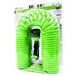 Assorted colors of purple, green and blue. Includes a bonus 8 pattern water nozzle. Stretches out to 50 feet without kinking and restracts to 32 inches for easy storage.
