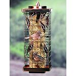 One of the prettiest bird feeders on the market. Classic tube style with a outer cage that is adorned by beautiful song birds. Customer favorite