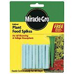 Miracle Gro Indoor Plant Spikes is formulated to provide your houseplants with 2 months of continuous feeding. Great for all types of flowering and foliage plants in your home. Contains and comes with a free aerator for inserting the spike.