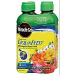 Use to feed plants, shrubs, trees, and flowers in the liqua-feed applicator system. Each refill bottle contains Miracle-Gro all purpose plant food in a ratio that is twelve parts nitrogen, four parts phosphorus, and eight parts potassium.