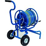Professional-grade hose reel that hold up to 400 feet of 5/8 inch hose Swivel design allows basket to rotate 270 degrees Tubed tires Includes leader hose Made in the usa