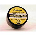Fiebing Boot Creme Polish is a unique, rich wax blend that conditions, re-colors, and polishes finished, grained, and smooth leather shoes and boots. Excellent for covering scuffs and scrapes. Buffs to a high gloss.