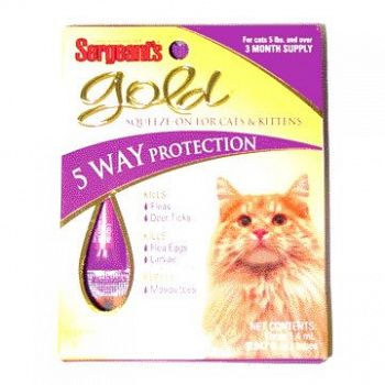 Gold Squeeze-on Flea and Tick for Cats Over 5 Lbs