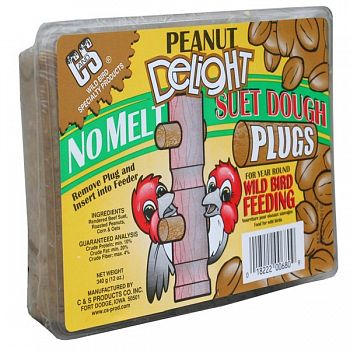Peanut Delight Wild Bird Suet Dough Plugs 12 oz