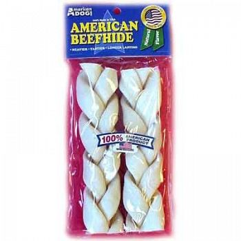 American Dog Rawhide 7 in. Braids 2 pack