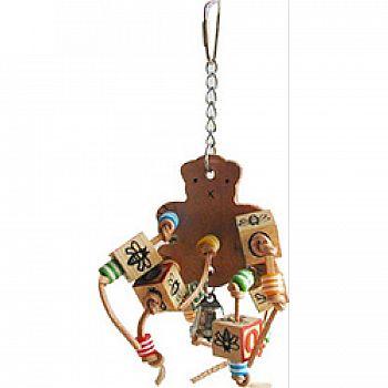 Happy Beaks Leather Bear With Abc Blocks Bird Toy