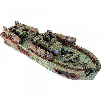 Sunken Torpedo Boat Ornament BROWN 12X4X2 INCH