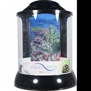 Aqua Terra With 3d Coral Background Aquarium BLACK 2 GALLON