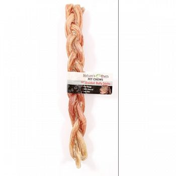 Natures Own Braided Bully Stick 12 in. (Case of 12)