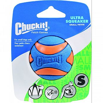 Chuckit! Ultra Squeaker Ball ORANGE AND BLUE SMALL