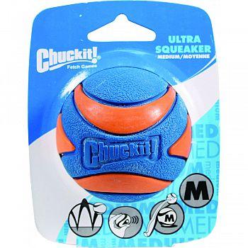 Chuckit! Ultra Squeaker Ball ORANGE AND BLUE MEDIUM