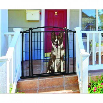 Outdoor Walk-thru Gate With Small Pet Door BLACK 33.25X29-43 IN
