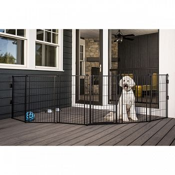 Supergate Extra Tall With Small Pet Door BLACK 36X144 IN