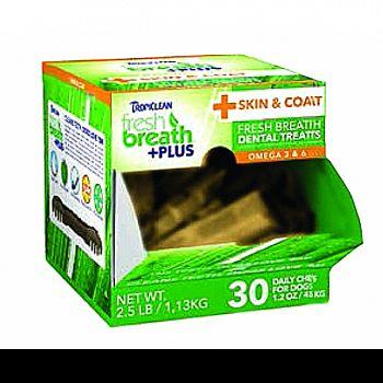 Fresh Breath Plus Dental Dog Treats Counter Disply SKIN & COAT 1.2 OUNCE/30 PC