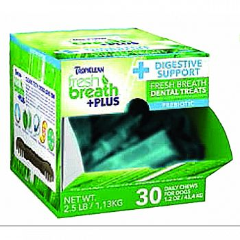 Fresh Breath Plus Dental Dog Treats Counter Disply DIGEST SUPPORT 1.2 OUNCE/30 PC