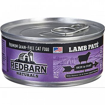 Redbarn Naturals Pate Cat Can- Skin/coat LAMB 5.5 OZ (Case of 24)