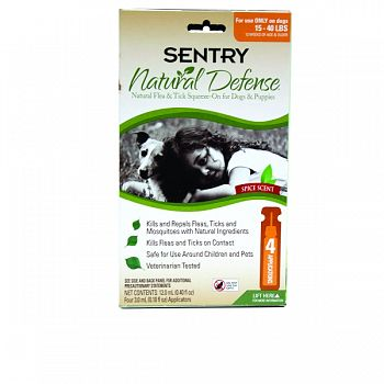 Sentry Natural Defense Flea & Tick Squeeze-on-dog 4 MONTH 15-40 LB