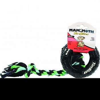 Tirebiter Paw Tracks Tire With Rope Dog Toy BLACK 3.5 INCH/MINI