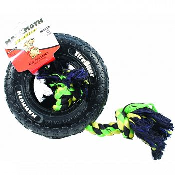 Tirebiter Paw Tracks Tire With Rope Dog Toy BLACK 8 INCH/MEDIUM