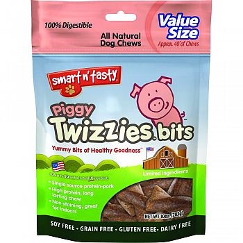 Smart N Tasty Piggy Twizzies Bits PORK 10 OUNCE