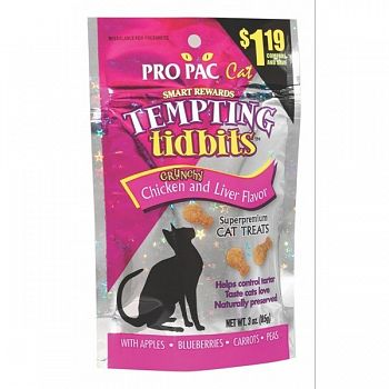 Cat Tempting Tidbits Crunchy Chicken and Liver Flavor - 3 oz.