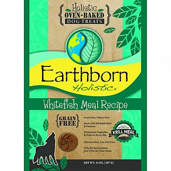 Earthborn Holistic Grain Free Dog Biscuits WHITEFISH 14 OUNCE (Case of 8)