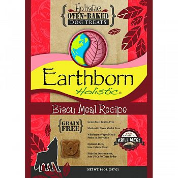 Earthborn Holistic Grain Free Dog Biscuits BISON 14 OUNCE (Case of 8)