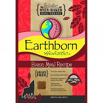 Earthborn Holistic Grain Free Dog Biscuits BISON 2 POUND (Case of 6)