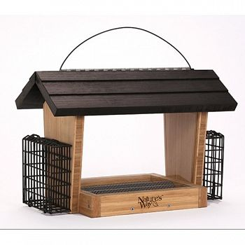 Bamboo Hopper Feeder With Suet Cages - 6 qt.