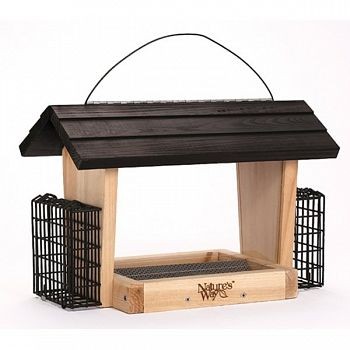 Cedar Hopper Feeder With Suet Cages - 6 qt.