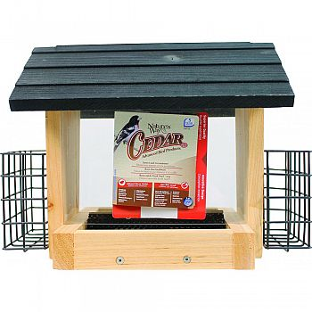 Hopper Feeder With Suet Cages CEDAR 3 QUART CAP