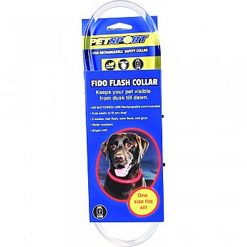 Fido Flash Usb Rechargeable Led Safety Collar RED ONE SIZE