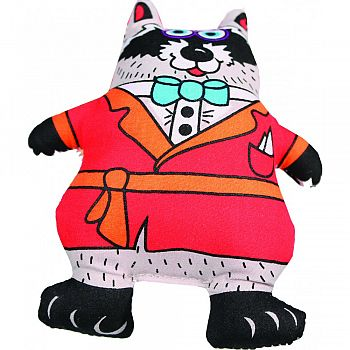 Madcap Well Dressed Raccoon Squeaker Dog Toy MULTICOLORED 5 INCH