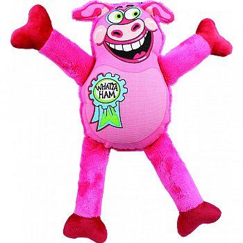 Madcap Whatta Ham Canvas & Plush Dog Toy MULTICOLORED 12 INCH