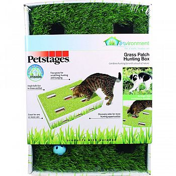 Invironment Grass Patch Hunting Box For Cats GREEN 14X10 INCH