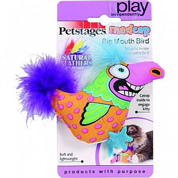 Madcap Big Mouth Bird Catnip & Feather Toy MULTICOLORED 6 INCH
