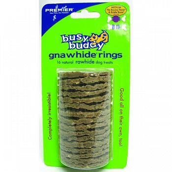 Busy Buddy Rawhide Rings NATURAL MEDIUM/16 PACK