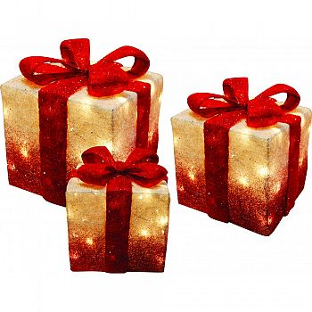 3 Decorative Christmas Presents With Lights WHITE&RED SET OF 3